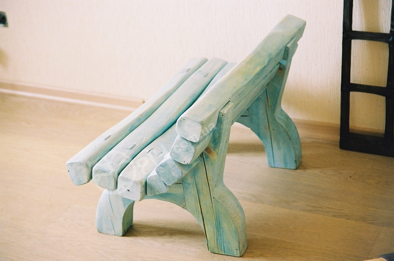Меблі з дерева для дітей. Дерев'яна лава з біопокриттям. Меблі для дитячих садочків.